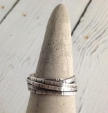 Handmade Etched Oxidized Sterling Wrap Ring, Size 10