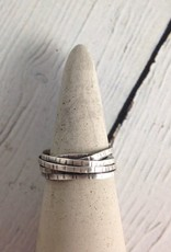 Handmade Etched Oxidized Sterling Wrap Ring, Size 11