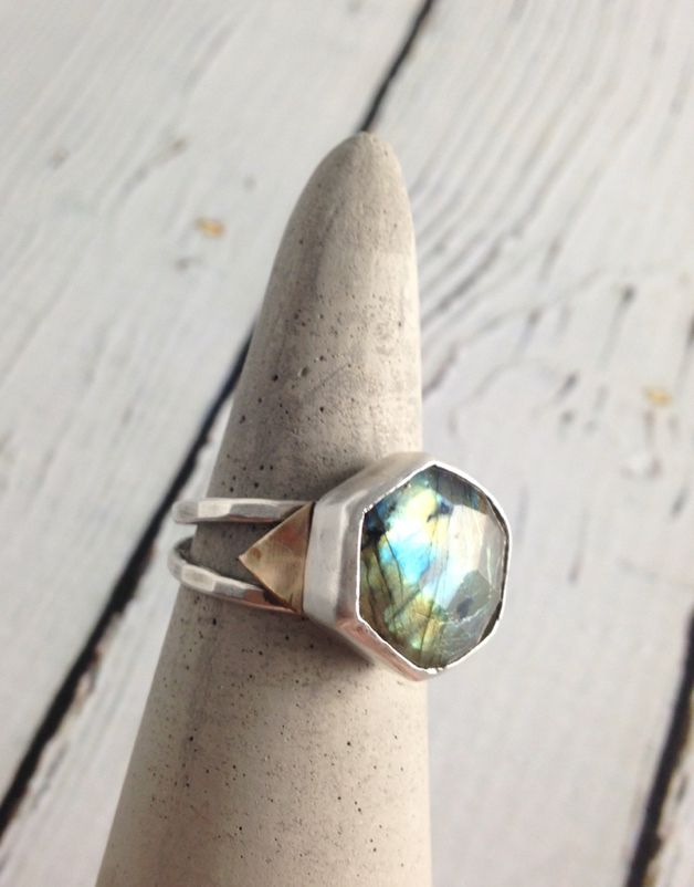 Handmade Hexagonal Labradorite Stone Ring w/ 14k Gold Triangle Accents, Size 7