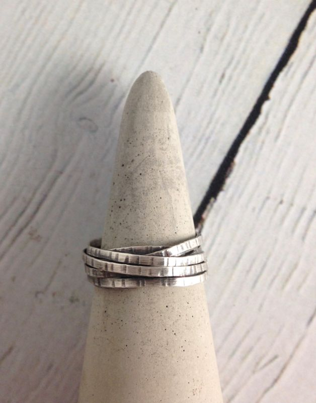 Handmade Etched Oxidized Sterling Wrap Ring, Size 9