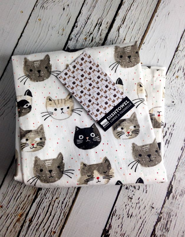 Tea Towels Cats Meow Print