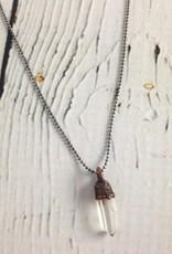 "Raw Quartz Pendant on 18"" Sterling Chain Necklace"