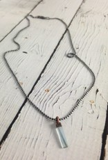 "Aquamarine Crystal 18"" Sterling Chain Necklace"