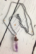 "Vera Cruz Amethyst Electroformed Pendant on 18"" Sterling Silver Chain"