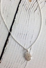 """Handmade Sterling Silver Magical Protection Hasma Necklace, 16"""" w/2"""" ext"""