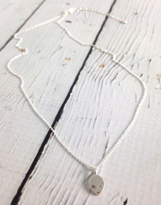 Handmade Sterling Silver Alien Necklace