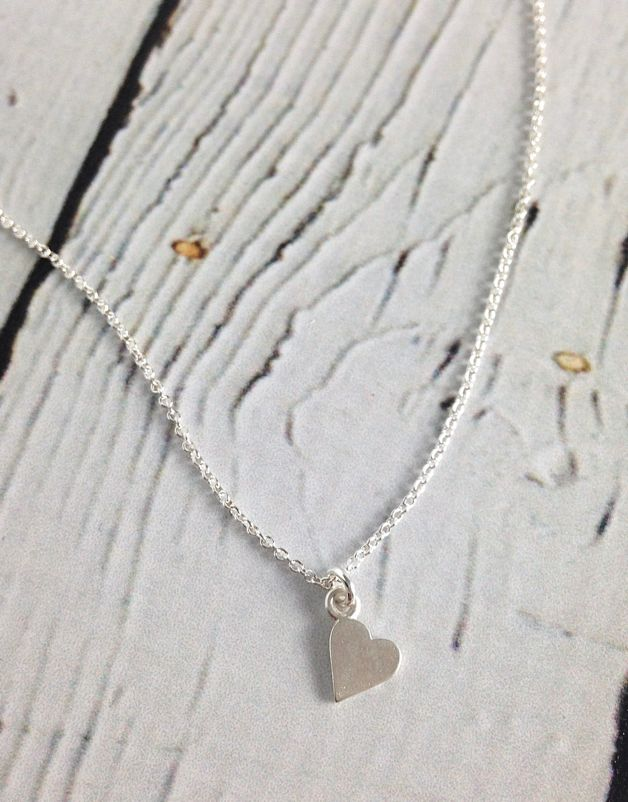 Handmade Sterling Silver Necklace with Sideways Heart