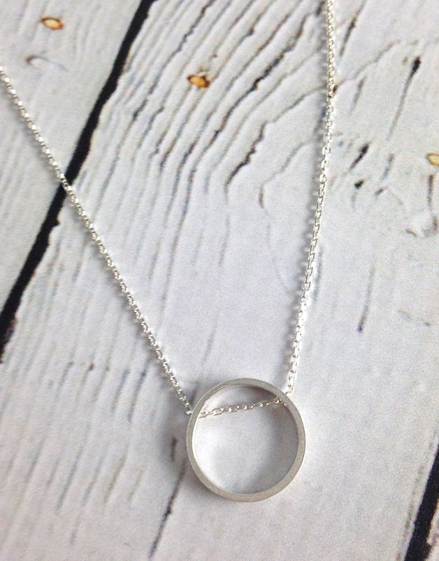 Handmade Hammered Silver Circle Necklace