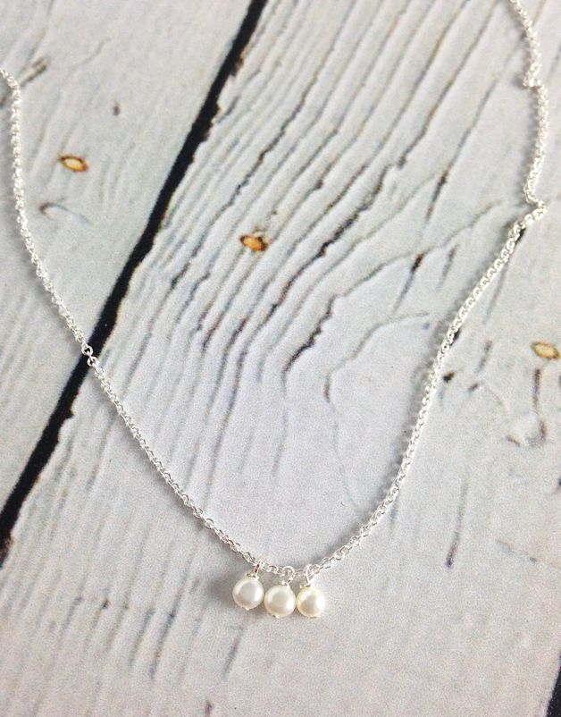 Handmade Sterling Silver 3 Pearls Necklace