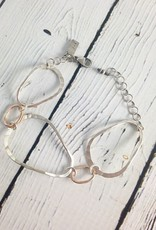 Handmade Hammered open sterling and 14kt goldfill oval bracelet