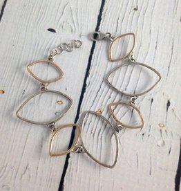 Hammered Sterling and 14kt Gold Fill Open Leaf Shape Bracelet