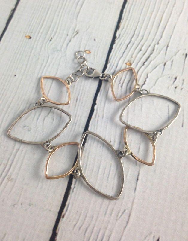Hammered Sterling and 14kt Goldfill Open Leaf Shape Bracelet