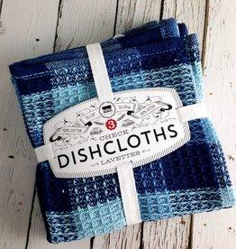 Indigo Check Dishcloths, Set of 3