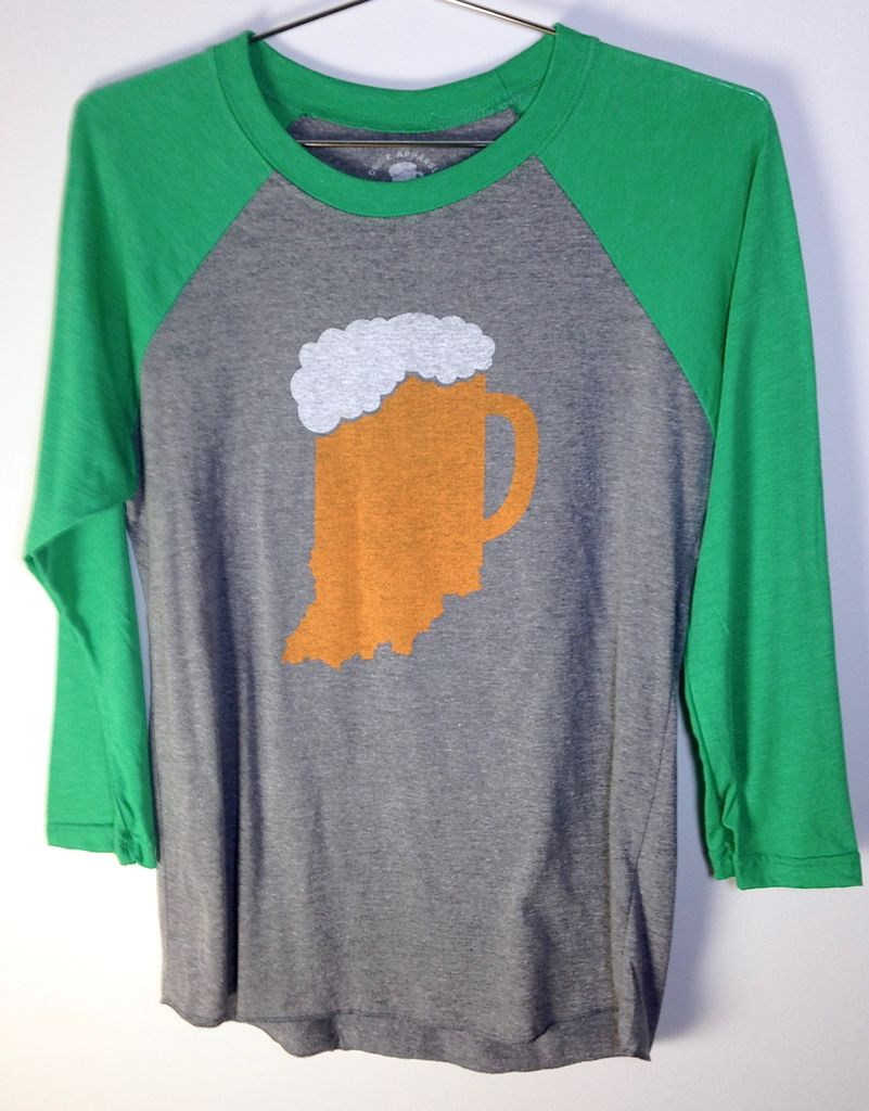 Indiana Beer Mug Baseball Tee