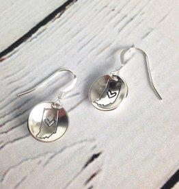 Handstamped Indiana Heart Earrings