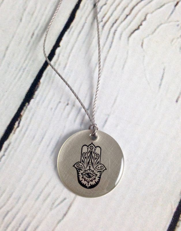 "Sterling Litho ""Hasma"" Necklace"