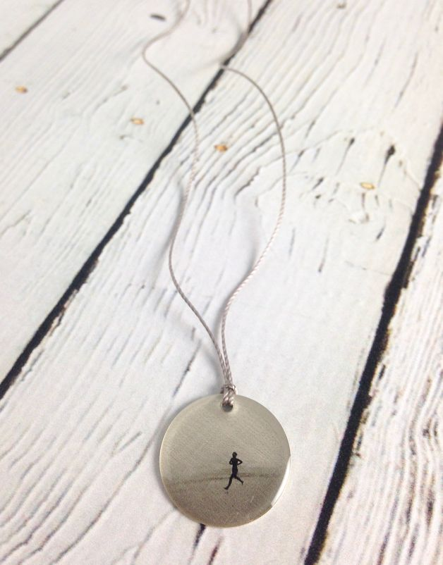 "Sterling Litho ""Runner"" Necklace"