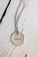 "Sterling Silver Litho ""Equal"" Mini Type Necklace"
