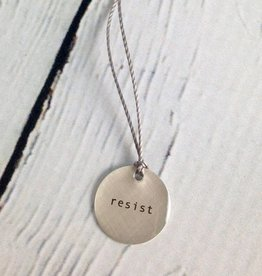 "Sterling Silver Litho ""Resist"" Mini Type Necklace"
