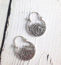 Sterling Silver Balinese Small Blooming Lotus Basket Earrings