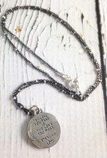 "Sterling Silver Heart Charm with ""The Love You Make"" quote on 18"" Gunmetal and Silver Bead Chain"