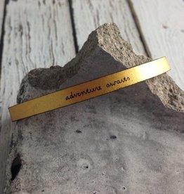 LaurelDenise Adjustable Leather Bracelet, adventure awaits, gold