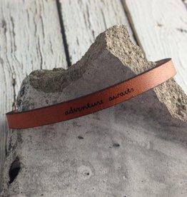 LaurelDenise Adjustable Leather Bracelet, adventure awaits, auburn