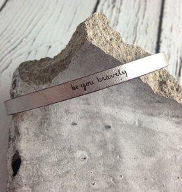LaurelDenise Adjustable Leather Bracelet, be you bravely, silver