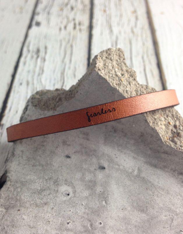 LaurelDenise Adjustable Leather Bracelet, fearless, auburn