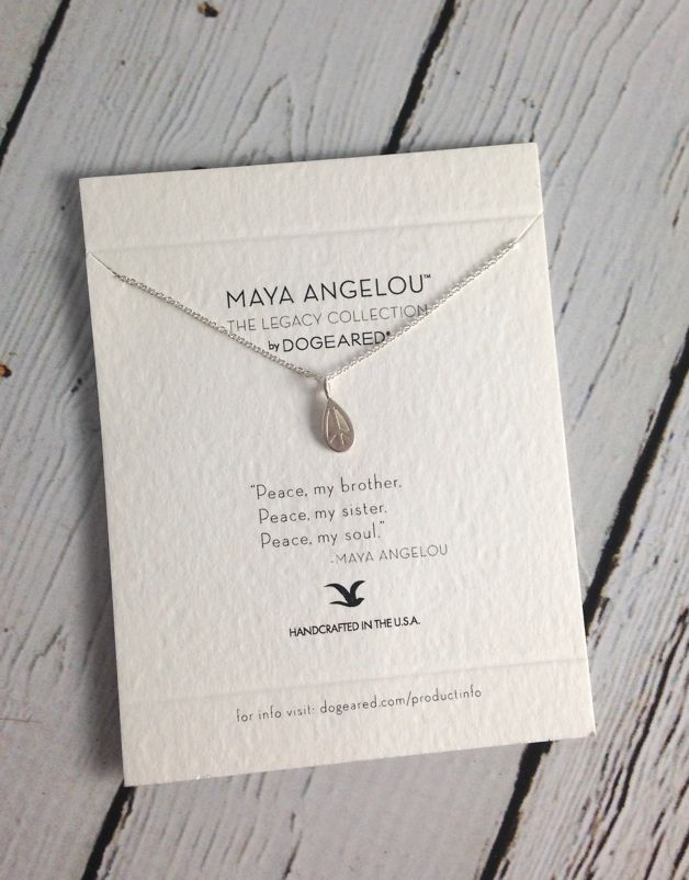 "Handmade Sterling Silver Necklace with Maya Angelou ""Peace my Brother"" Quote"