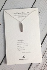 "Handmade Sterling Silver Necklace with Maya Angelou ""Attitude of Gratitude"" Quote"