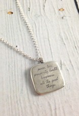 """Handmade Sterling Silver Necklace with Maya Angelou """"My Wish for You"""" Quote"""