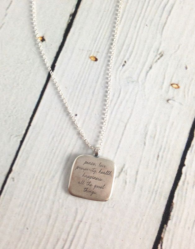 "Handmade Sterling Silver Necklace with Maya Angelou ""My Wish for You"" Quote"