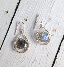 Sterling Silver Wire and Labradorite stone Earrings
