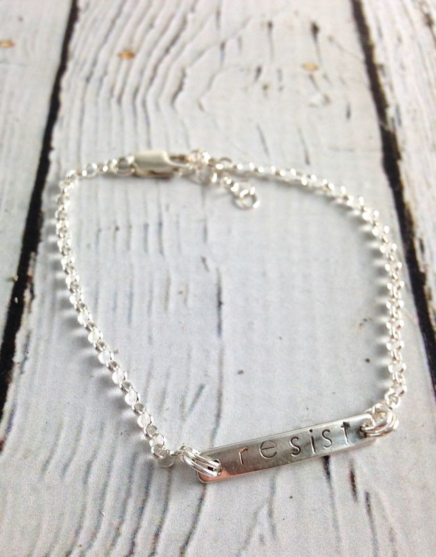 "EvanKnox Sterling Silver Handmade and Handstamped ""RESIST"" Bracelet from Evan Knox"