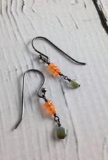 Handmade Silver Earrings with 3 carnelian stack, dangling opal
