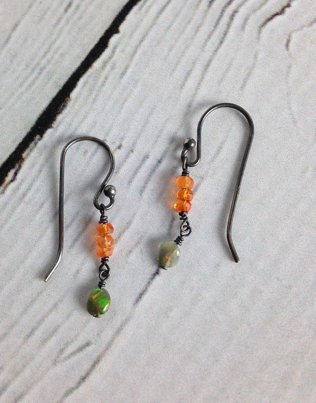 Handmade Silver Earrings with 3 carnelian stack, dangling opal