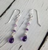 Handmade Silver Earrings with amethyst brio, 3 graduated dangle