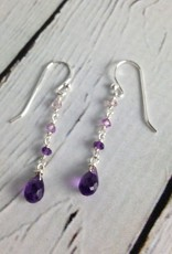 Handmade Silver Earrings with amethyst brio, 3 graduated dangle