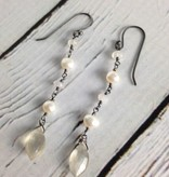 Handmade Silver Earrings with moonstone marquis, misc white pearl, moonstone dangle