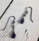 Handmade Silver Earrings with iolite brio, opal