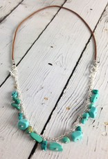 Handmade Silver Convertible Necklace/Bracelet with ruby zoisite, matte onyx balls, green turquoise nuggets, oxidized chain, black leather, 2 toggles
