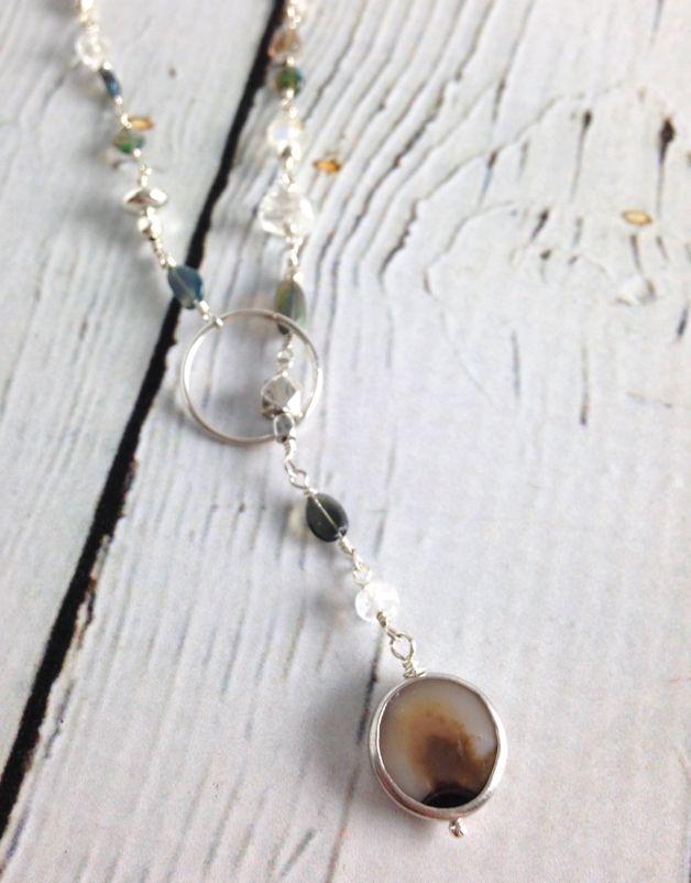 Handmade Silver Necklace with druzy, opal, rainbow moonstone shiny lariat