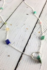 Handmade Silver Necklace with shiny ring w/green turquoise, connected turquoise, lapis, citrine, pink opal