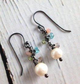 Handmade Silver Earrings with white pearl, amethyst, pink opal, apatite, peridot dangle