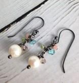 Handmade Silver Earrings with white pearl, amethyst, pink opal, apatite, peridot dangle