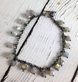 Handmade Silver Convertible Necklace/Bracelet with small labradorite coins, oxidized chain, 2 toggles, silver leather