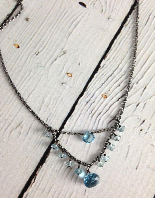 Handmade Silver Necklace with 1/2 double: london blue topaz brio/blue topaz rondelles, onion oxidized