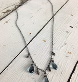 Handmade Silver Necklace with 3 london blue topaz briolettes, oxidized faceted silver