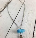 Handmade Silver Necklace with biggest raw neon apatite, labradorite marquis